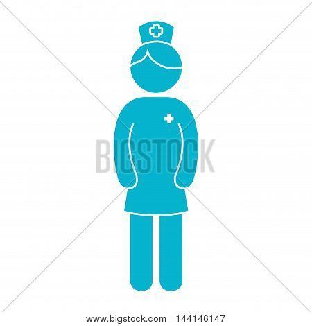 nurse woman girl female hat medicine profession medic hospital uniform vector illustration