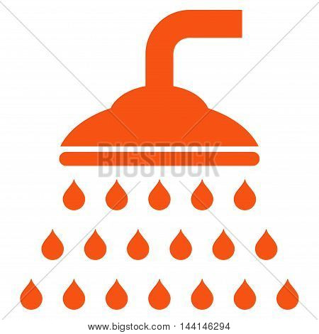 Shower icon. Vector style is flat iconic symbol, orange color, white background.