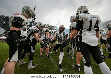 INNSBRUCK, AUSTRIA - APRIL 11, 2015: The team of the Swaroc Raiders before a game of the Big Six Football League.