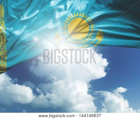 Kazakhstan flag on a beautiful day