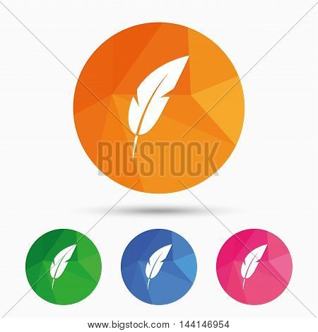 Feather sign icon. Retro pen symbol. Light weight symbol. Triangular low poly button with flat icon. Vector