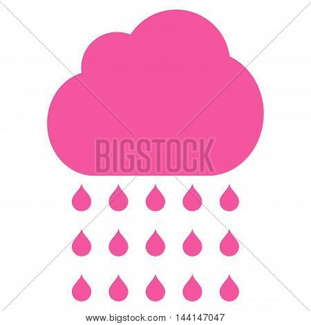 Rain Cloud icon. Vector style is flat iconic symbol, pink color, white background.