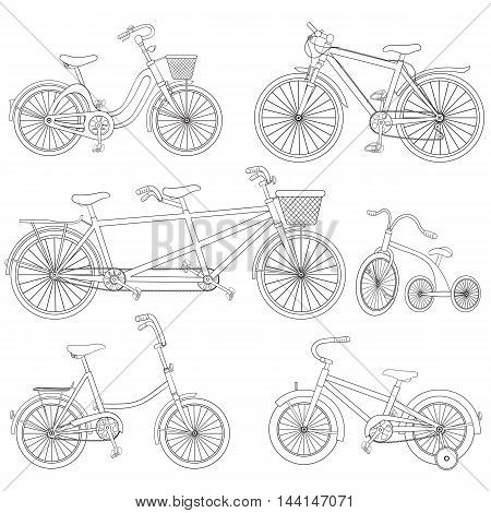 Vector black and white hand drawn bicycle set