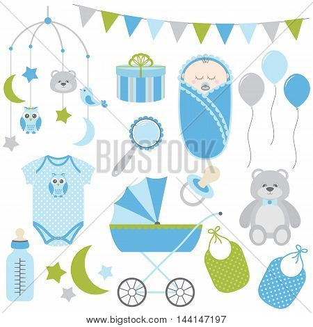 Vector blue and green baby boy set