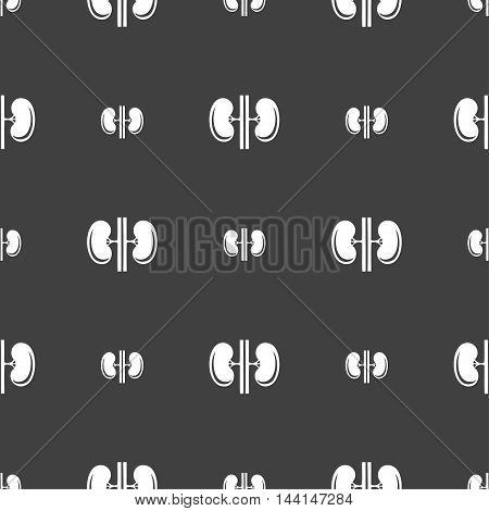 Kidneys Sign. Seamless Pattern On A Gray Background. Vector