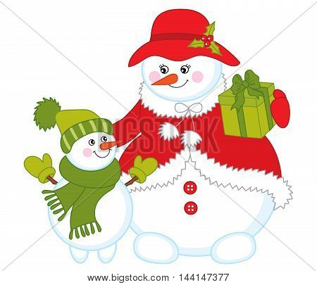 Vector Christmas colorful snowman with baby snowman and gift box