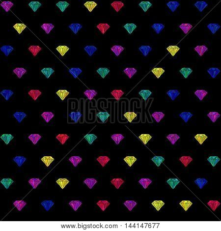 vector seamless pattern with colorful diamonds and crystals