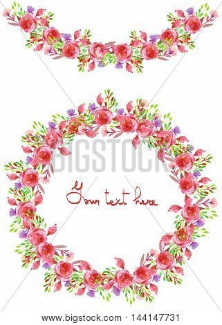 Circle frame, wreath and garland of purple and red flowers and branches with the green leaves painted in watercolor on a white background, greeting card, decoration postcard or invitation