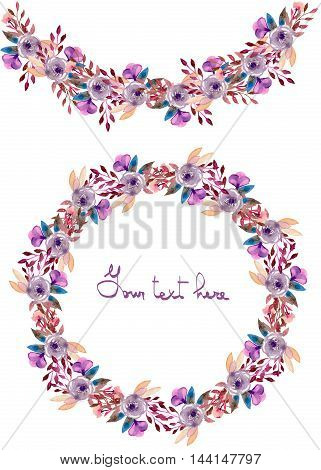 Circle frame, wreath and garland of purple flowers and branches with the violet leaves painted in watercolor on a white background, greeting card, decoration postcard or invitation