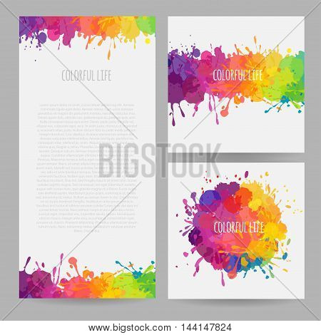 vector set of colofrul banners with stains and splatters