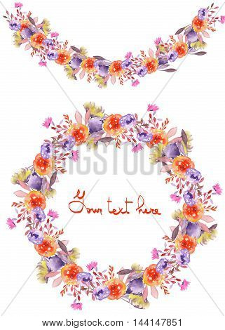 Circle frame, wreath and garland of purple and red flowers painted in watercolor on a white background, greeting card, decoration postcard or invitation