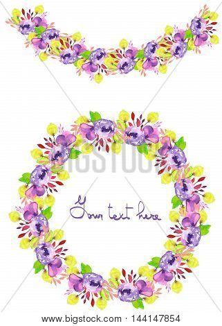 Circle frame, wreath and garland of purple and yellow flowers and branches with the green leaves painted in watercolor on a white background, greeting card, decoration postcard or invitation