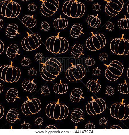 vector seamless halloween pattern with orange pumpkins on black background