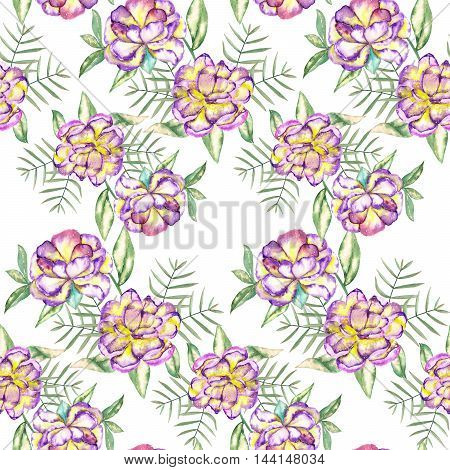 A seamless floral pattern with the watercolor violet and yellow exotic flowers and green leaves painted on a white background
