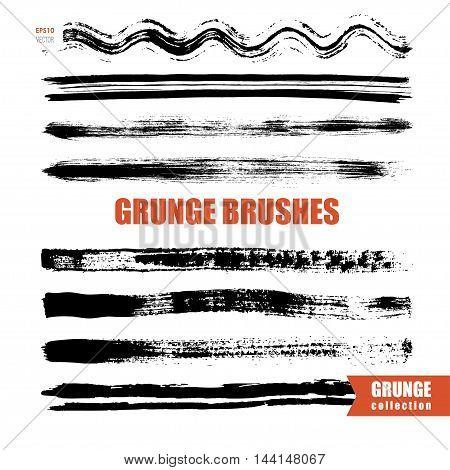 grunge vector brushes set, grunge strokes isolated on white