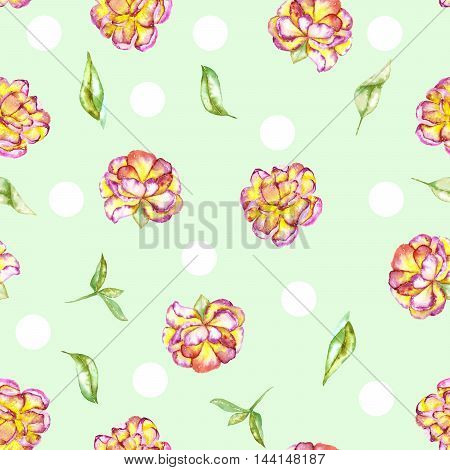 A seamless floral polka dot pattern with the watercolor purple and yellow exotic flowers (peony) and green leaves painted on a mint background
