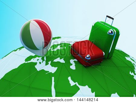 Low poly illustrated travel concept. 3d rendering. Travel to Italy. Luggages and Italian flag pin on globe.