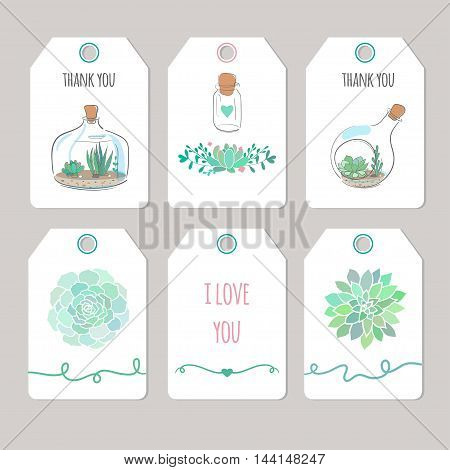 thank you cards with succulents, vector printable tags and cards