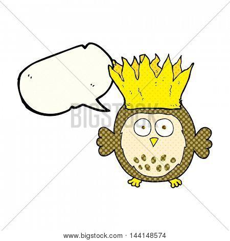 freehand drawn comic book speech bubble cartoon owl wearing paper crown christmas hat