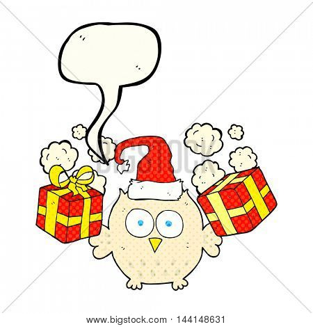 freehand drawn comic book speech bubble cartoon christmas owl
