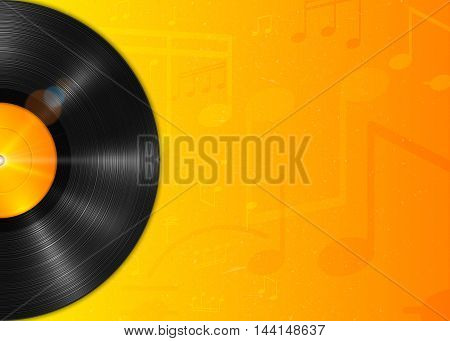 Realistic long-playing LP vinyl record with yellow label. Vintage vinyl gramophone record, backdrop with notes. Retro music poster, place for text. Illustration for banner, flyer, billboard concerts