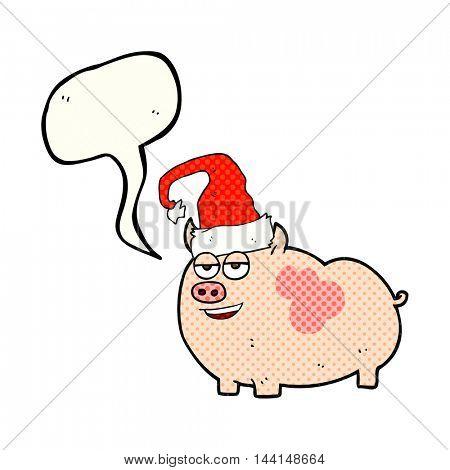 freehand drawn comic book speech bubble cartoon christmas pig