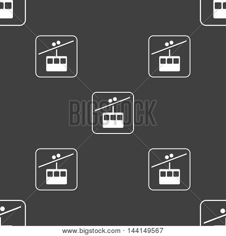 Cable Car Line Sign. Seamless Pattern On A Gray Background. Vector