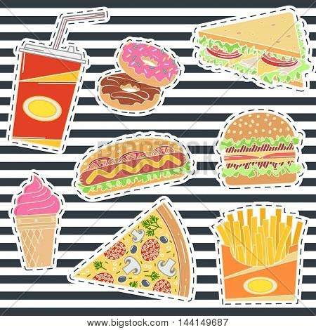 Set of fast food patches. Elements on the theme of the restaurant business. Fast food design for patch or t-shirt. Vector illustration.