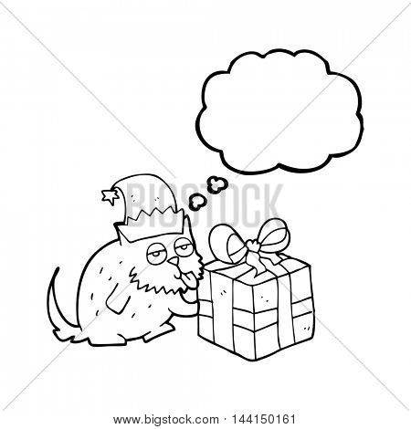 freehand drawn thought bubble cartoon cat with present