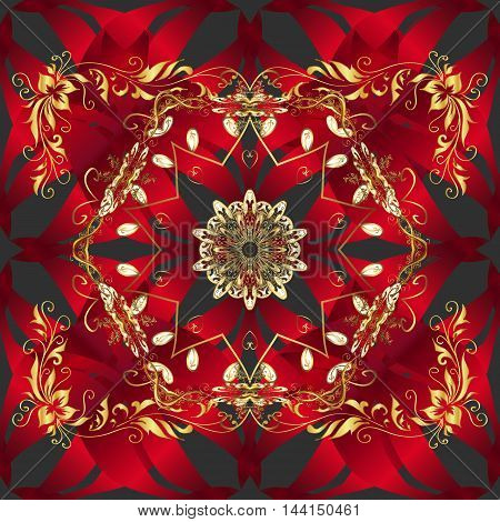 Seamless floral golden and red pattern on dark background vector Illustration
