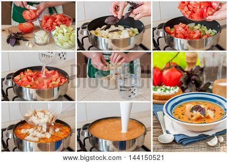 A Step by Step Collage of Making Pappa al pomodoro Tuscan Tomato Zucchini Basil and Bread Cream Soup