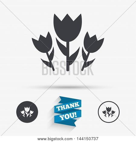 Flowers sign icon. Roses symbol. Bouquet. Flat icons. Buttons with icons. Thank you ribbon. Vector