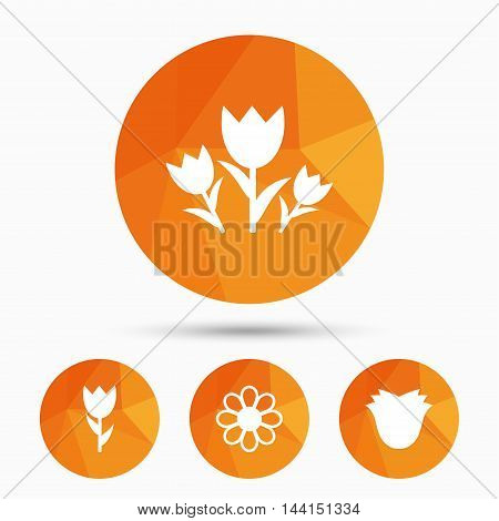 Flowers icons. Bouquet of roses symbol. Flower with petals and leaves. Triangular low poly buttons with shadow. Vector