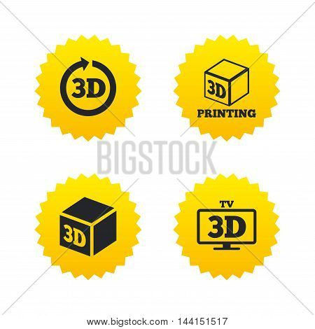 3d tv technology icons. Printer, rotation arrow sign symbols. Print cube. Yellow stars labels with flat icons. Vector