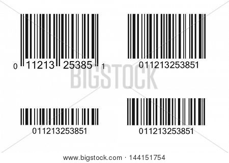 Multiple barcode illustrations isolated on a white background.