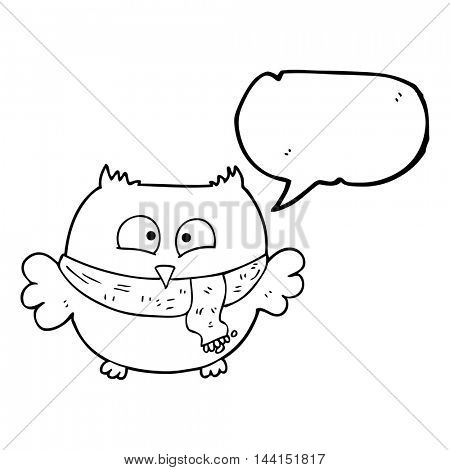 freehand drawn speech bubble cartoon owl