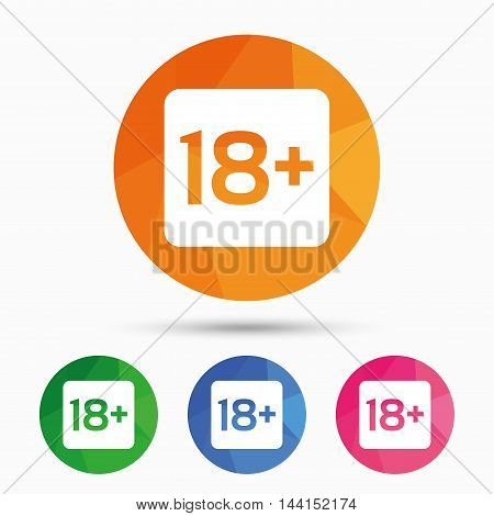 18 years old sign. Adults content only icon. Triangular low poly button with flat icon. Vector