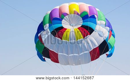 the colorful stripes of parachute in the sky. Clouse up