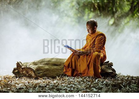 Novice monk learning in the Thailand .
