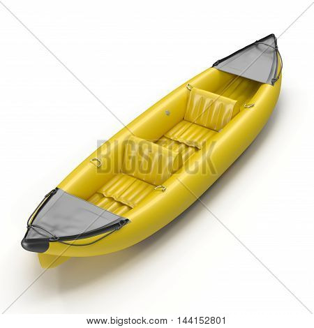 Inflatable yellow kayak isolated on white background 3D Illustration