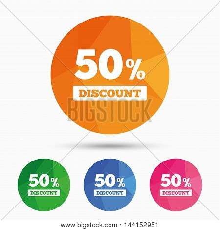 50 percent discount sign icon. Sale symbol. Special offer label. Triangular low poly button with flat icon. Vector