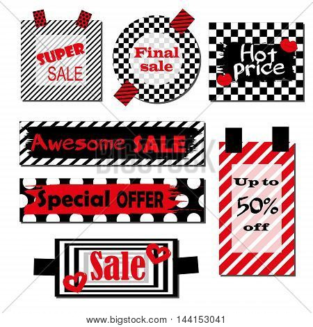 Set of labels with black and white background and red elements.Bright design for discount posters, flyers, cards, banner with lettering. Decorative handmade sticker design. Special offer, super sale, hot price, final sale