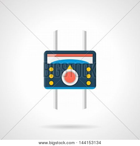 Heated floor temperature controller. Blue thermoregulator with red tumbler, yellow buttons and pipes. House climate equipment. Single flat color design vector icon.