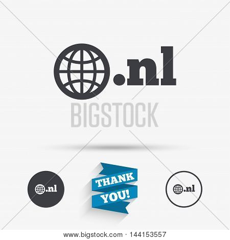 Domain NL sign icon. Top-level internet domain symbol with globe. Flat icons. Buttons with icons. Thank you ribbon. Vector