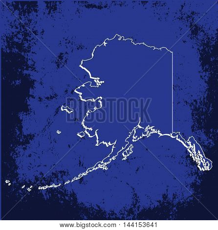 3D Alaska (USA) Blueprint outline map with shadow
