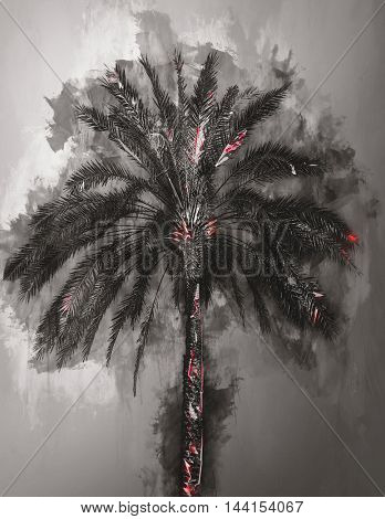 Single large palm tree as abstract gray and black watercolor painting with subtle red highlights on trunk