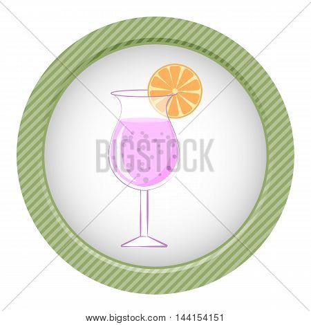 Cocktail colorful icon. Vector illustration in cartoon style