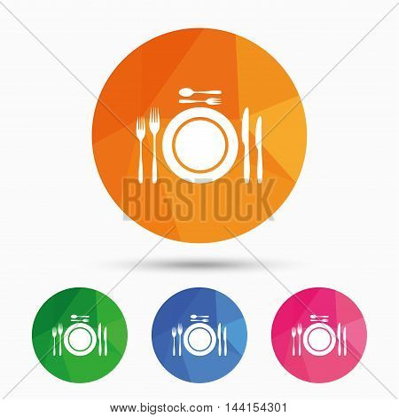 Plate dish with forks and knifes. Dessert trident fork with teaspoon. Eat sign icon. Cutlery etiquette rules symbol. Triangular low poly button with flat icon. Vector