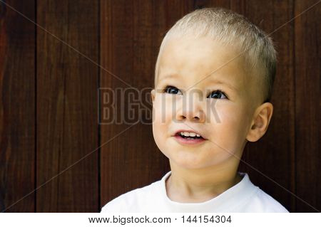 Portrait about a cute blonde boy on brown wooden background.