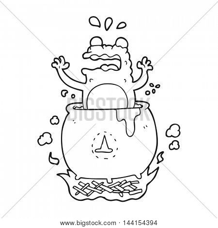 freehand drawn black and white cartoon funny halloween toad
